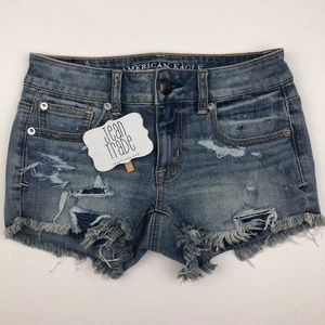 AE American Eagle Shortie Distressed Jean Shorts